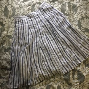 Lands End Striped Linen Skirt